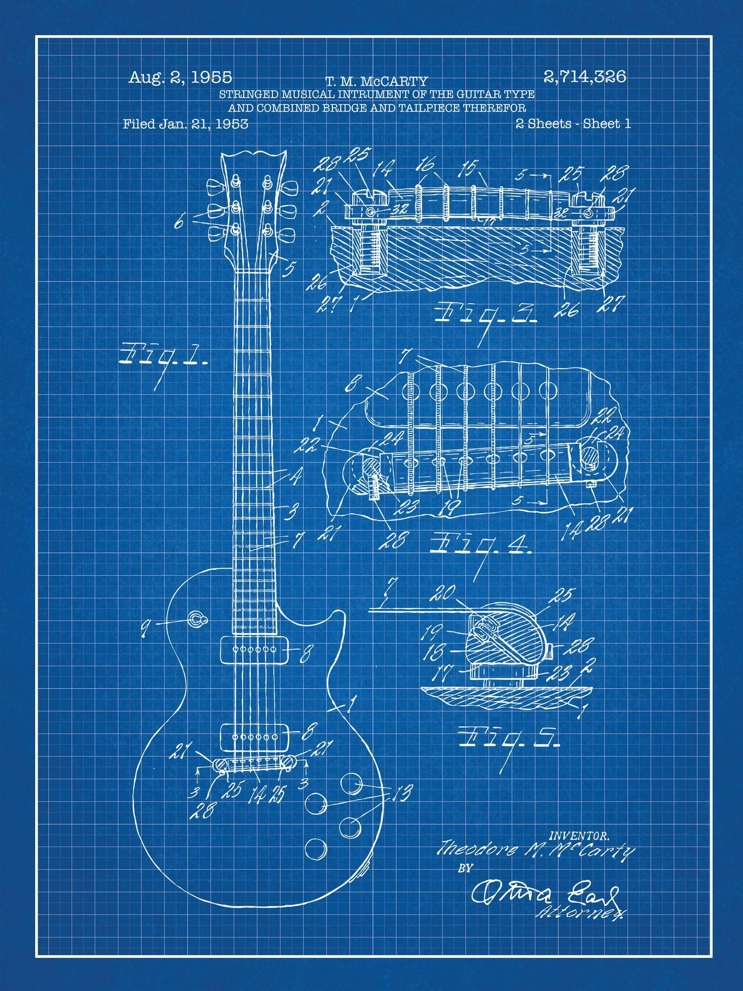 Gibson Les Paul Guitar Blueprint Graphic Art Poster in Blue Grid ...