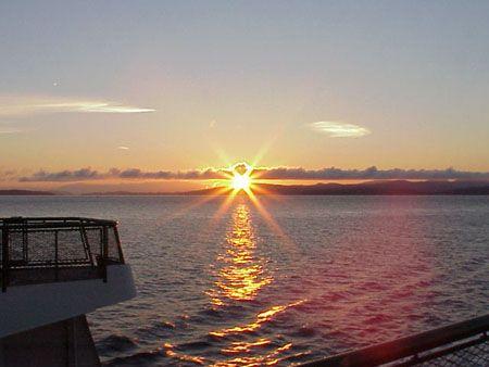 Sunrise on the ferry. San Juan Island to Anacortes.