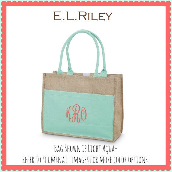 Monogrammed Tote Bridesmaid Gift Tote by elrileyembroidery on Etsy