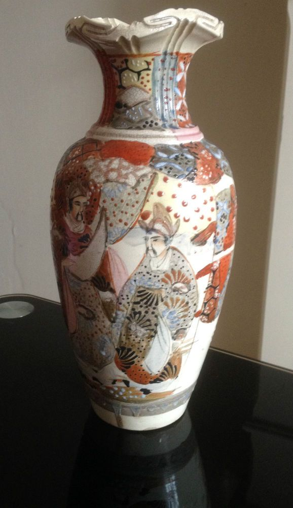 Antique Chinese Satsuma Vase Immortals Hand Painted 26 Cm Tall
