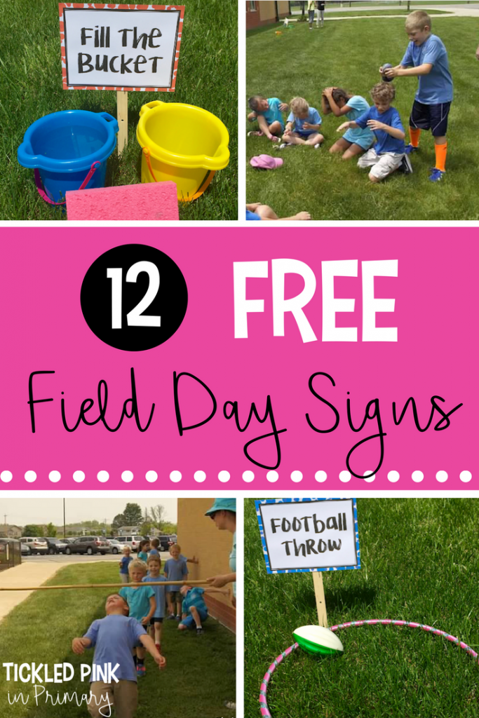 Field Day Games with 12 FREE Signs • Tickled Pink in Primary