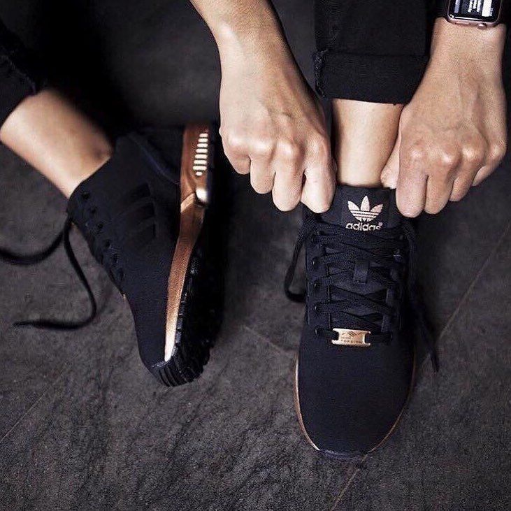 Copper and black sneakers