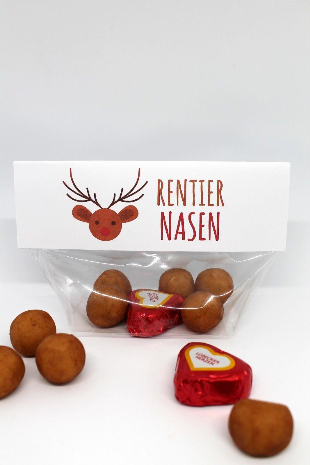 DIY Rentiernasen Weihnachtsgeschenk + Free Printable | Diys and Free ...