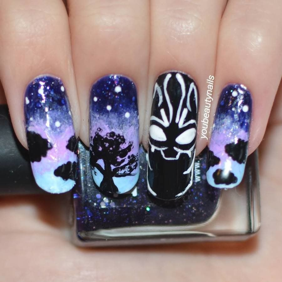 Black Panther nail art. - Wow! Black Panther Nail Art. Black Panther Movie / Party Ideas In