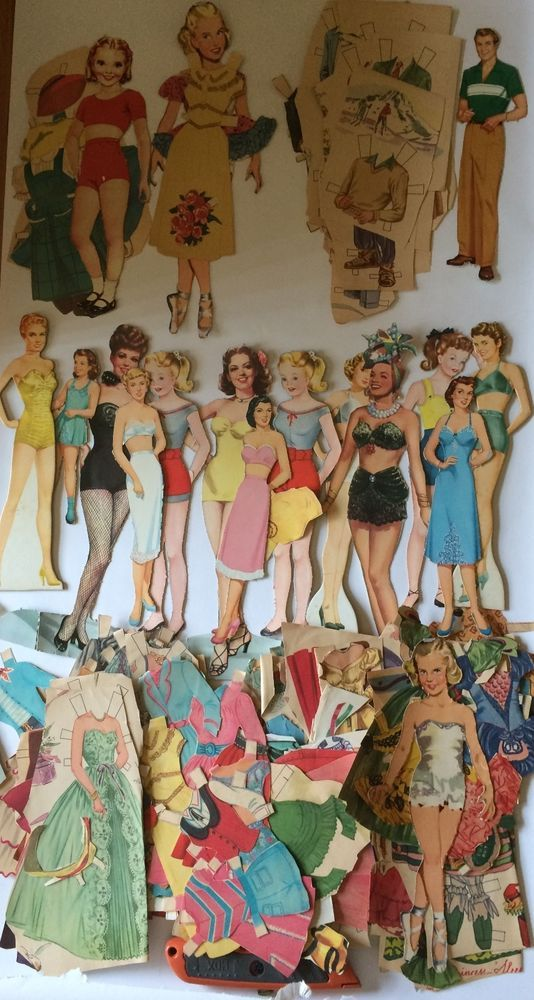Huge Paper Doll Lot Hundreds Of Pieces Celebrities Vintage 1940s 1950s