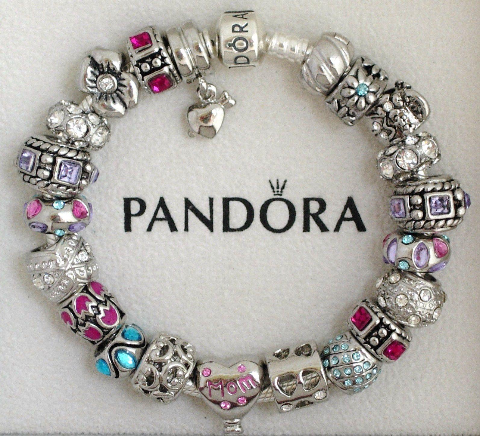 Pandora Sterling Silver Charm Bracelet Mom Purple Gem S Plated European  Charms  Ebay