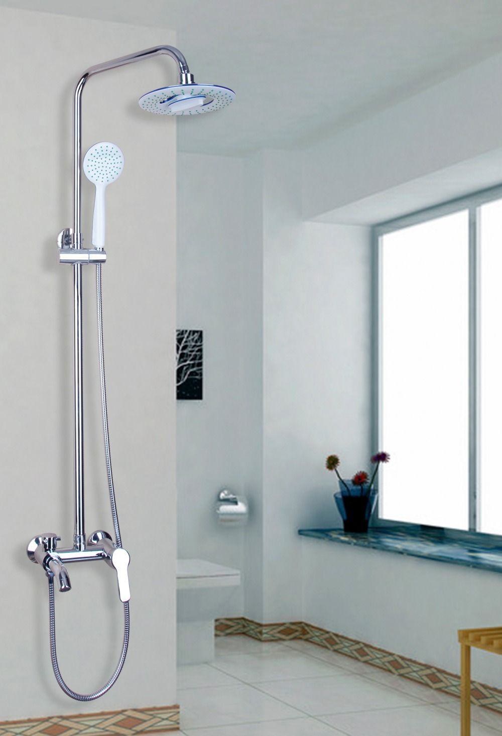 Over-Head Waterfall Rainfall Wall Mounted Bathroom LED Roman Tub ...