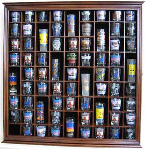 Large Wall Shadow Box Cabinet To Hold 71 Shot Glasses Display Case Hardwood Shot Glasses Display Glass Display