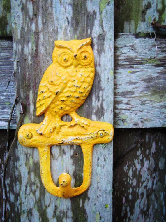 Saffron Yellow Owl Double Wall Hook Shabby Chic by ShabbyAnchor ...