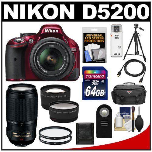 Nikon D5200 Digital Slr Camera 18 55mm G Vr Dx Af S Zoom Lens Red With 70 300mm Vr Lens 64gb Card B Digital Slr Camera Nikon D5200 Photography Equipment