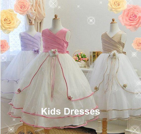Cute Flower Girl Dress New Years Dress Wedding by kidsdresses, $58.00