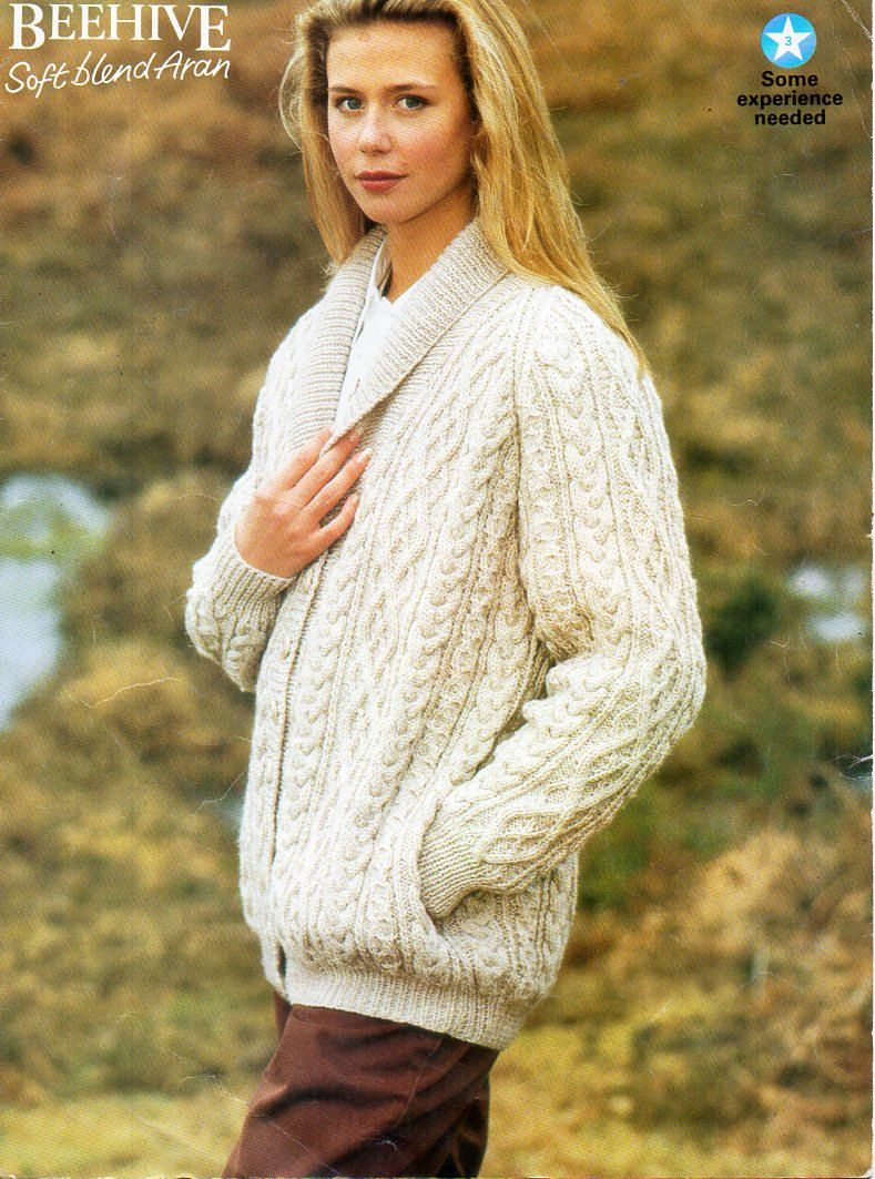 b5704252aa7049 ladies aran jacket knitting pattern pdf womens shawl collar cable cardigan  Vintage 32-42 inch aran worsted 10ply Instant download by Hobohooks on Etsy