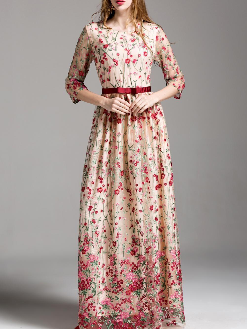 0a2a513bd7 SheIn - SheIn Flowers Embroidered Maxi Dress - AdoreWe.com | lehenga ...