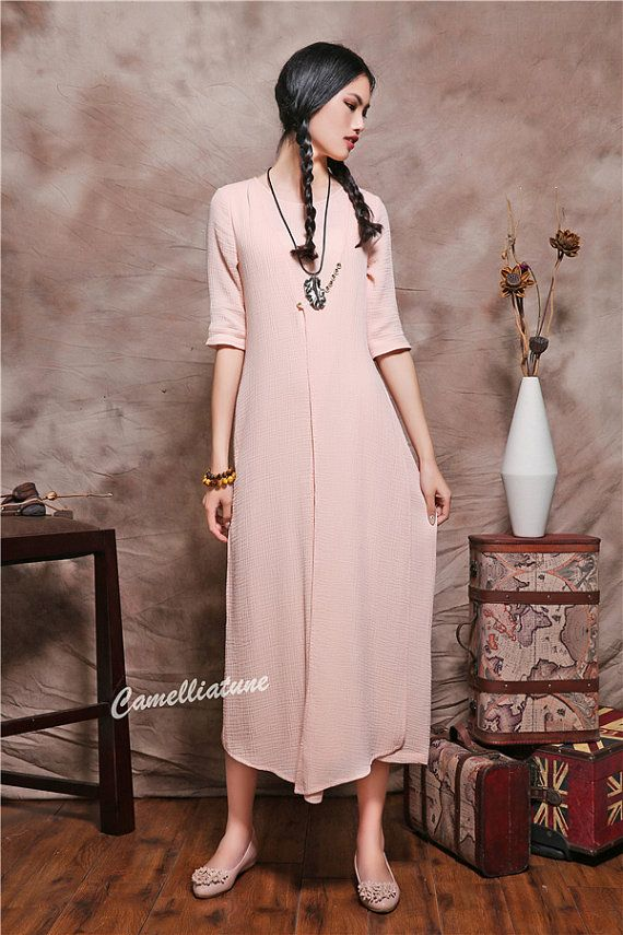 very romantic pink dress flattering style. layered design very light weight and comfortable in summer. less is more You will love it!  Care: hand