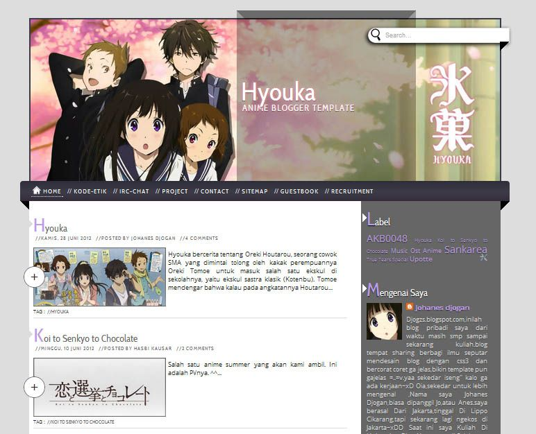 Hyouka Blogger Template
