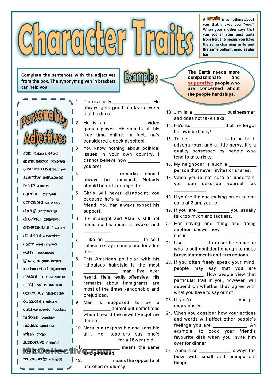 Personality Adjectives 2 Personality Adjectives Character Trait Worksheets English Lessons [ 1440 x 1018 Pixel ]