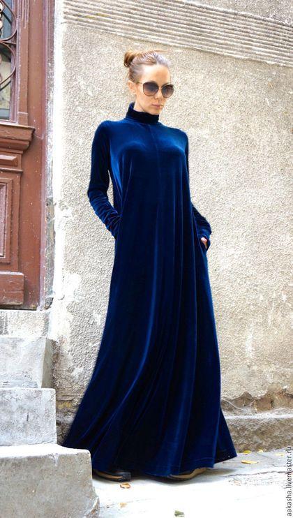 adbe2639f2b Купить или заказать Платье Maxi Velvet Navy в интернет-магазине на Ярмарке  Мастеров. Красивое платье макси из бархата! Платье в пол