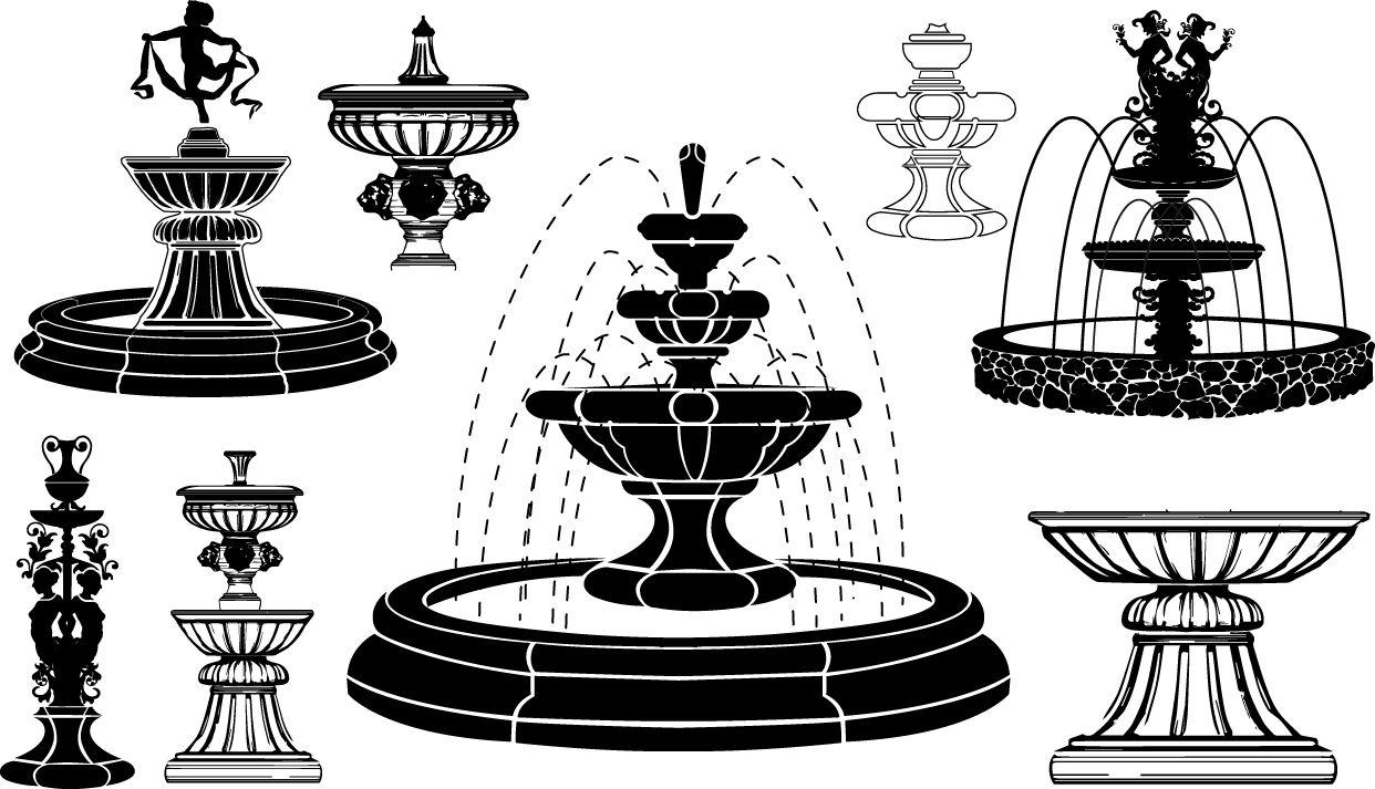Fountain Silhouettes Architecture Elegance Fountain Garden Outdoors Park Recreation Retro Water Constru Fountain Logo Design Water Paint Color Chart