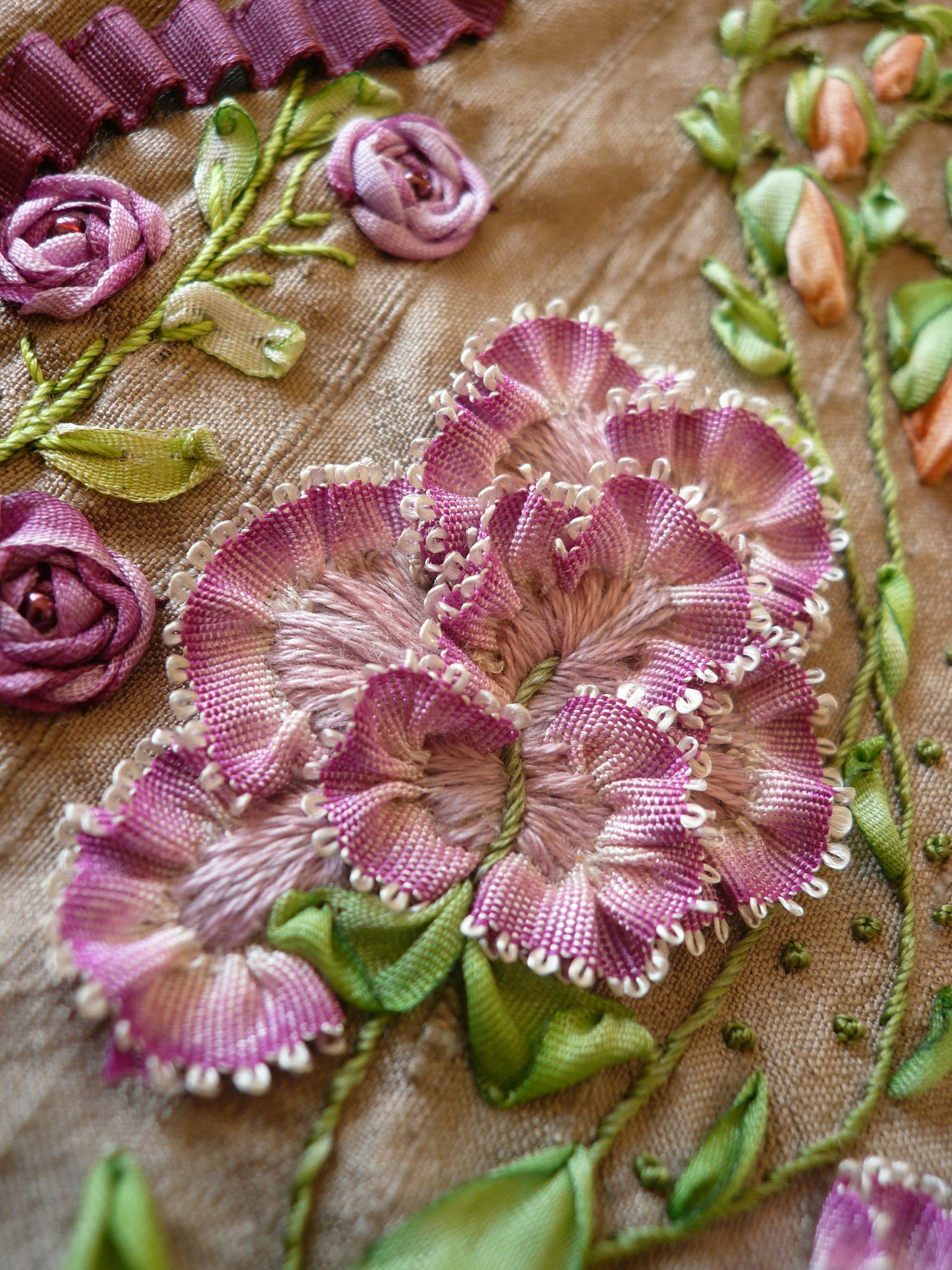 Ribbon work embroidery detail from quot marie antoinette