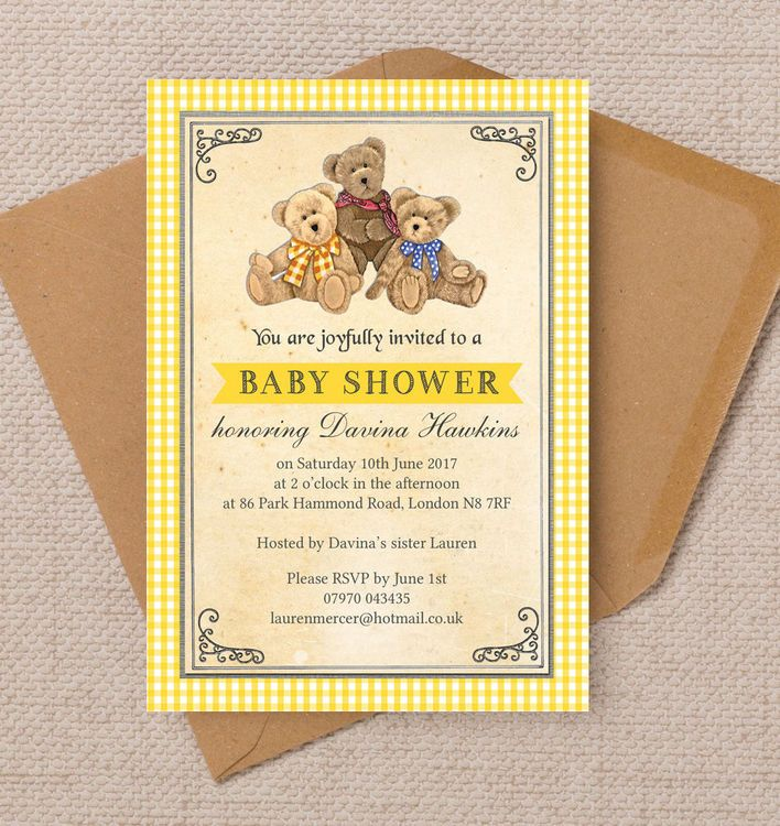 Teddy bears picnic baby shower invitation baby kids party teddy bears picnic baby shower invitation personalised kids invites customise online with live preview as you type available as a digital printable pdf filmwisefo