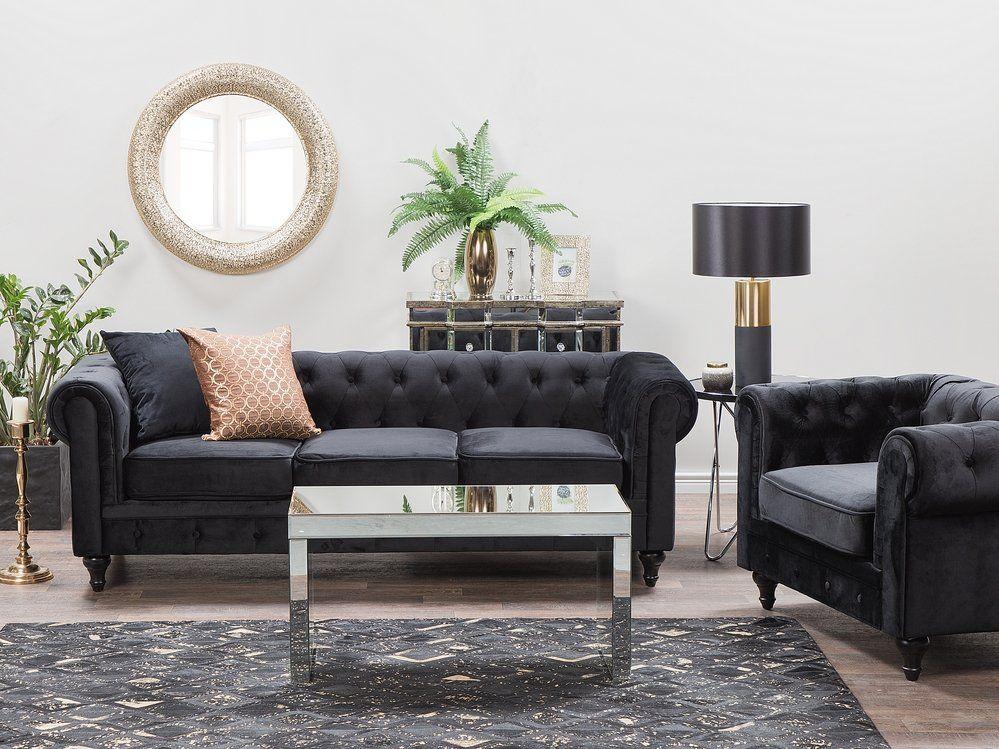 3 Seater Velvet Fabric Sofa Black Chesterfield Black Fabric Sofa Fabric Sofa Black Sofa