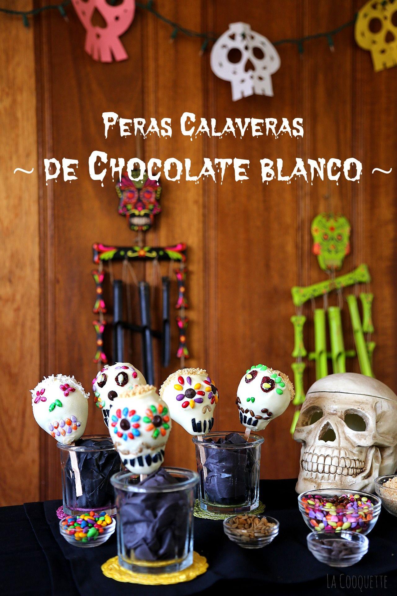 Peras Calaveras de Chocolate - recetas Día de Muertos y Halloween - La Cooquette #tradiciones #mexicanas