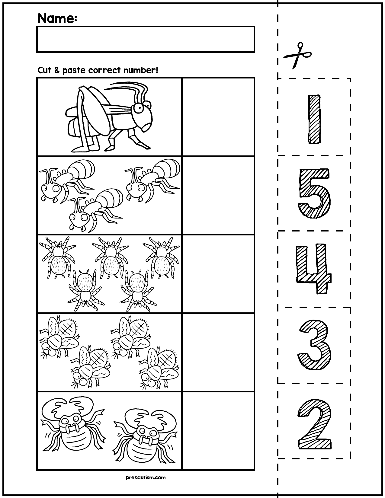 Spring Creepy Crawlers Cut & Match Worksheets | Numbers 1-5 | Number ...