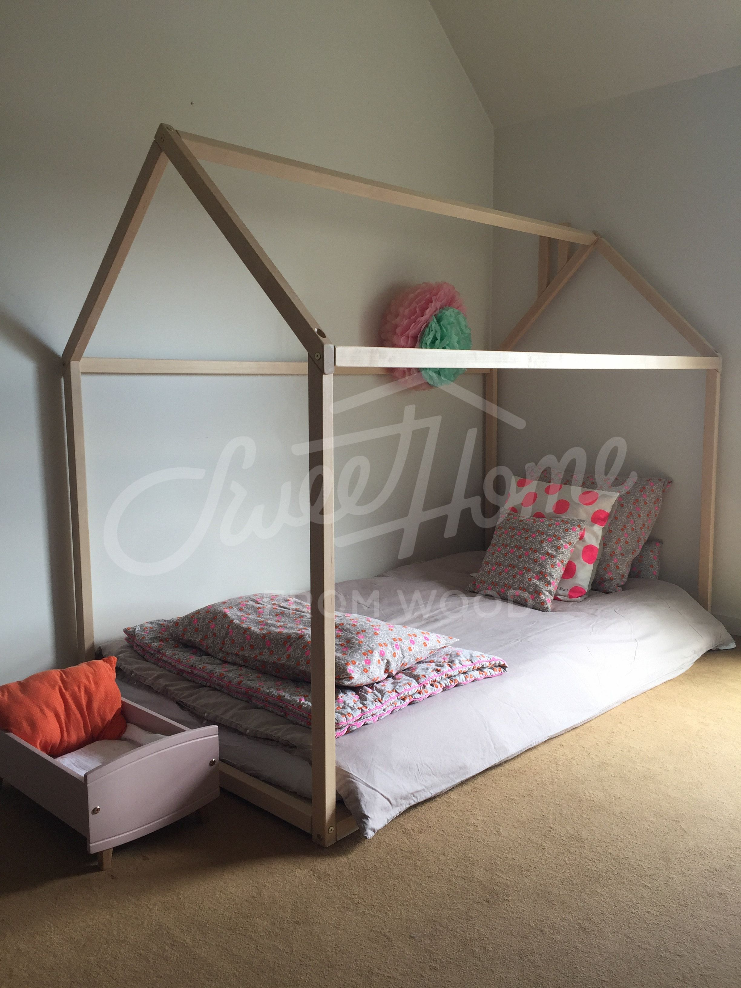 Pastel And Neutral Themed Kids Room Toddler Bed Pink Polka Dots Childrens Room House Bed Tent Bed Children Bed Wooden House Beds Bed Tent House Frame Bed