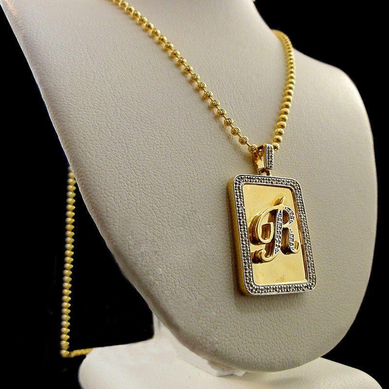 10K Yellow Gold Over Round VVS1 Diamonds Alphabet Initial