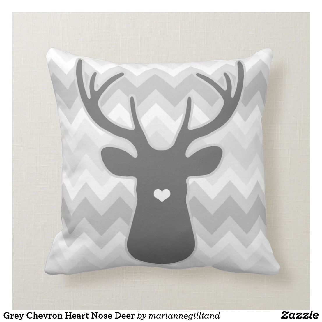 Awesome Grey Chevron Heart Nose Deer Throw Pillow Zazzle Com Inzonedesignstudio Interior Chair Design Inzonedesignstudiocom
