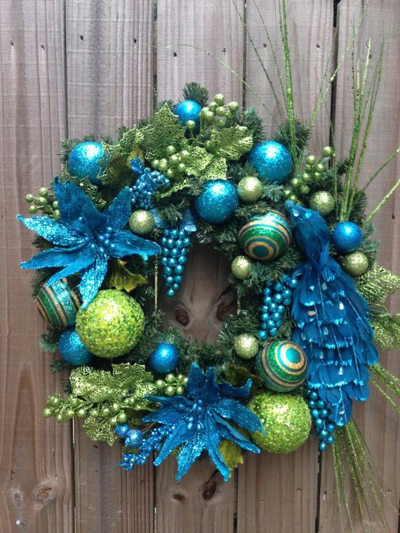 lime green and teal peacock christmas wreath by dreamcharmdesigns - Lime Green And Blue Christmas Decorations