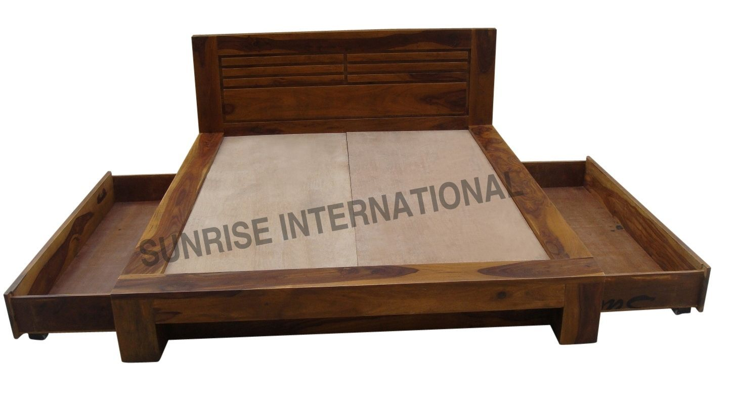 Storage Bed Contemporary Wooden Indian King Size Double Bed With 2