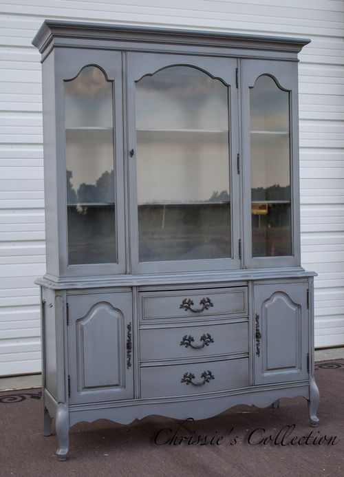 French Provincial China Cabinet Painted In Carriage Stone With An Antiqued Finish Measures 49 X18 And 71 T 485