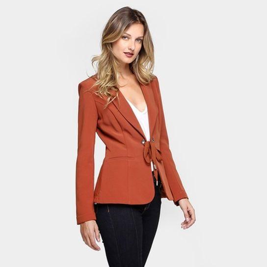 72a25078d Blazer Colcci Amarração Ilhós - Caramelo | casaco