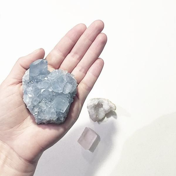 This dreamy pale blue Celestite fits in perfectly in any home. Place it on your desk for good vibes while you work! Celestite is known for its ability to ease anxiety and stress.