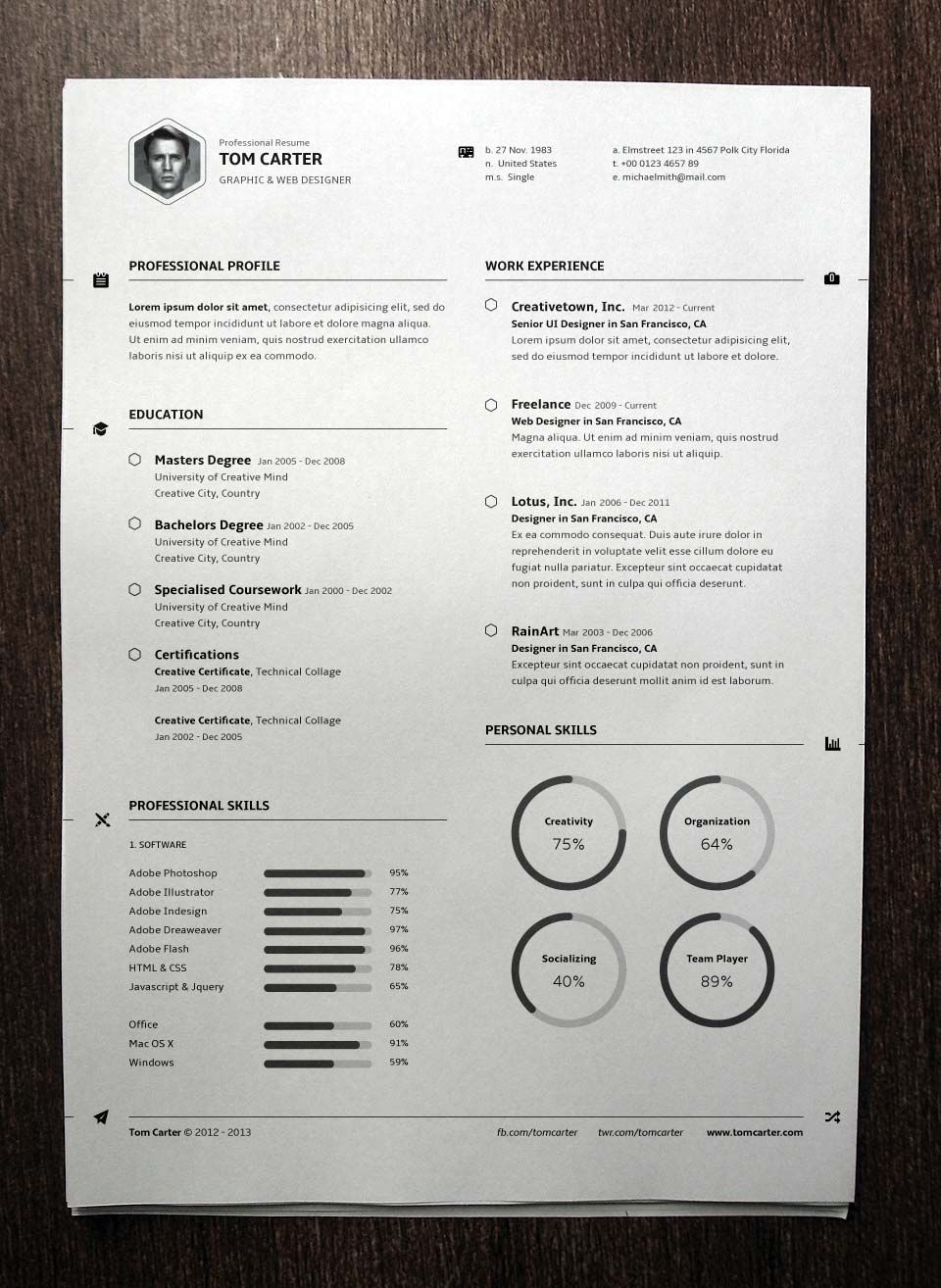 Simple Resume Template Vol  Resumes Templates  Pixeden  Work