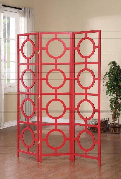 Dene Red Wood 3 Panel Wooden Folding Screen ACM-98158