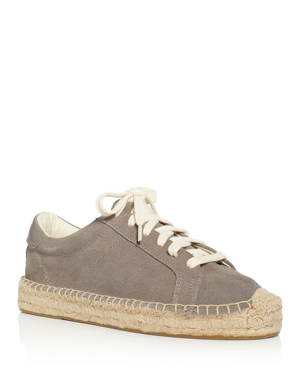 Soludos Tennis Platform Espadrille Lace Up Sneakers Dove Gray Women