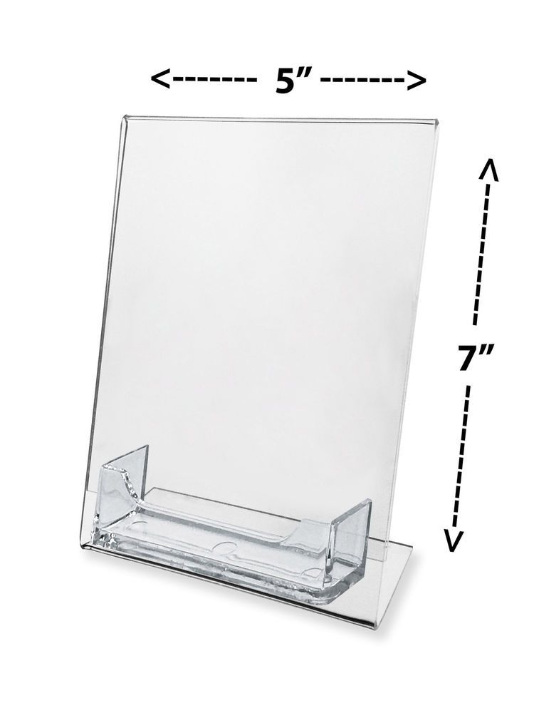 5 X 7 Slant Back Ad Frame With Attached Card Holder Flyer Sign Display Easel Marketingholders Sign Display Clear Picture Frames Table Tents