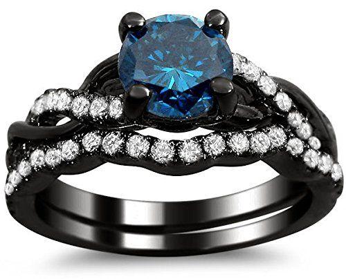 120ct Round Blue Diamond Engagement Ring Bridal Wedding Set 14k Black Gold Rhodium Plating Over