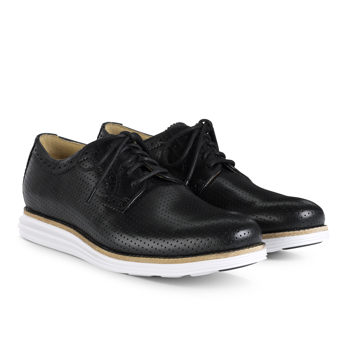 Cole Haan LunarGrand Perforated Plain Toe in Black