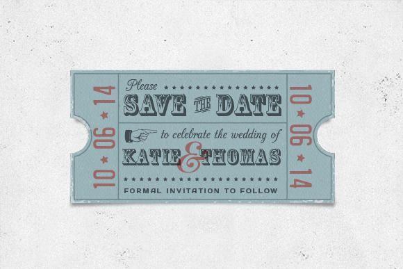 Vintage Save The Date Card Wedding Invitation Templates And DIY - Save the date ticket template