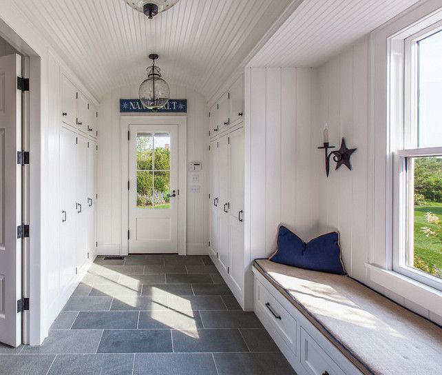Beachside Mudroom -- Slate Floors, Lots Of Shiplap