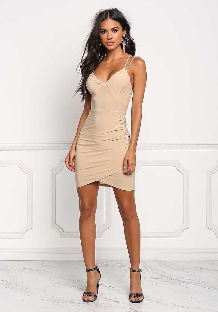 649cb7e9 Nude Double Strap Surplice Bodycon Dress - Bodycon - Dresses ...