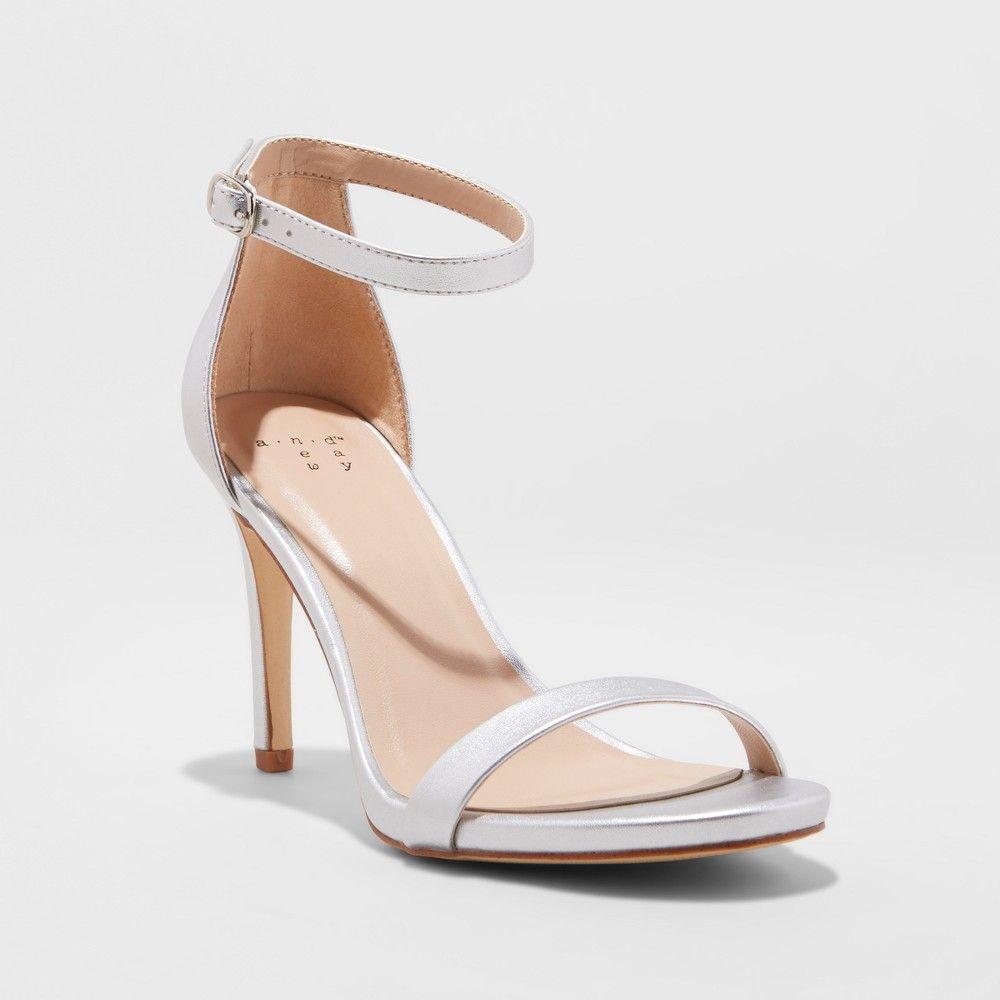 cc2c8da4249 Women s Gillie Stiletto Heeled Pump Sandals - A New Day Silver 8.5 ...
