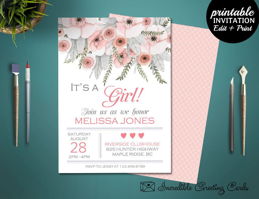 Printable ItS A Girl Baby Shower Invitation Template Baby Shower