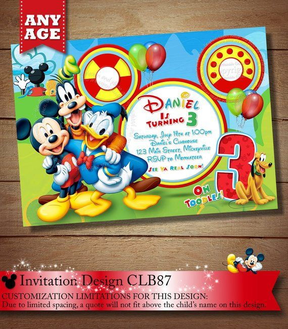 On Sale Same Day Svc Mickey Mouse Clubhouse Invitation Mickey Mouse
