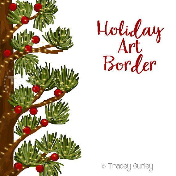 holiday art border  invitation art  holiday clip art  pine