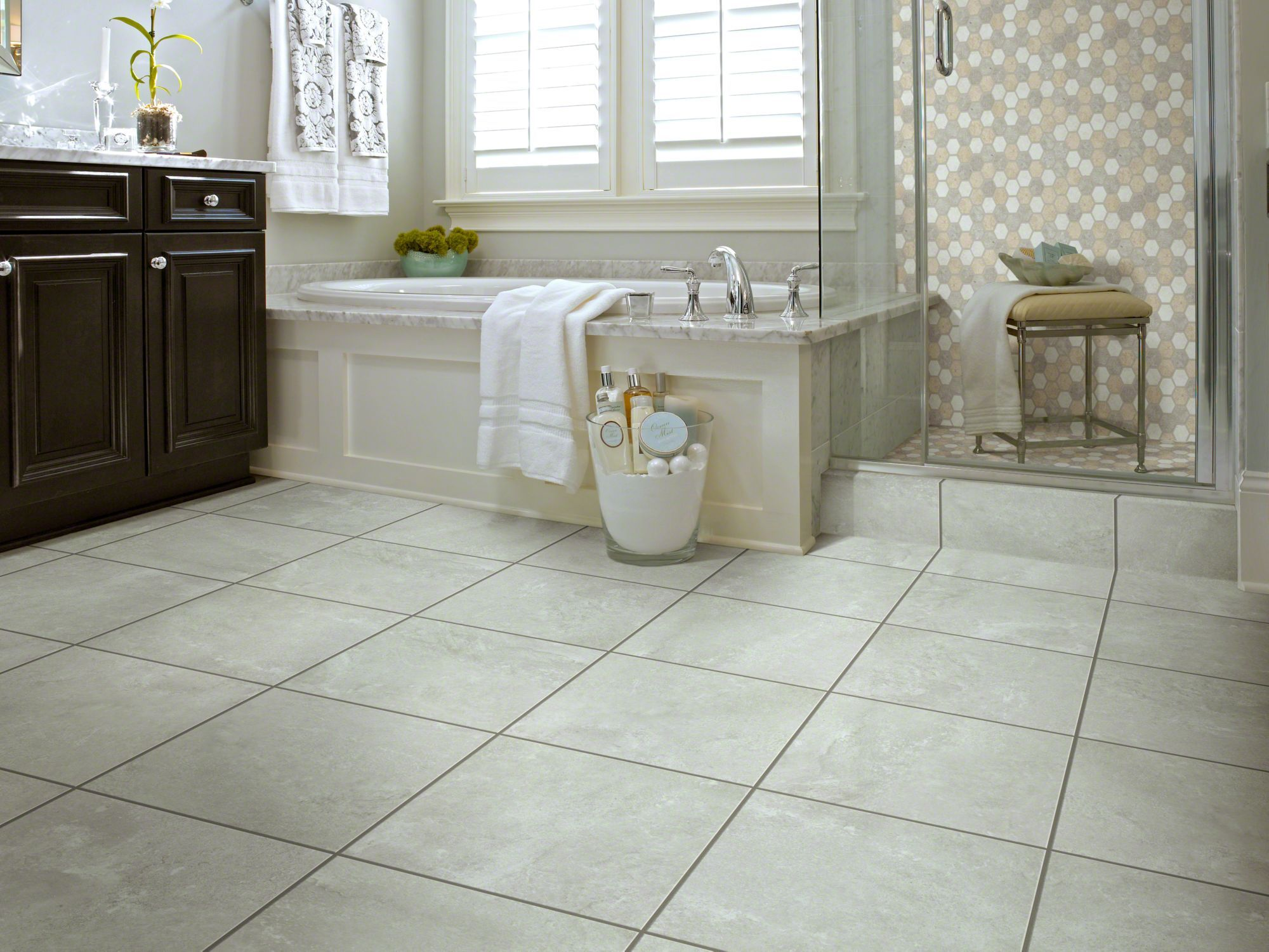 Resort Tile A Gorgeous Luxury Vinyl Tile Grouted With A Non Stainable Grout Looks Like Ce With Images Bathroom Flooring Trends Flooring Trends Vinyl Flooring Bathroom