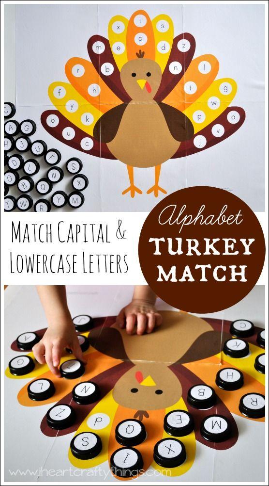 Alphabet Turkey Match  Free Printable